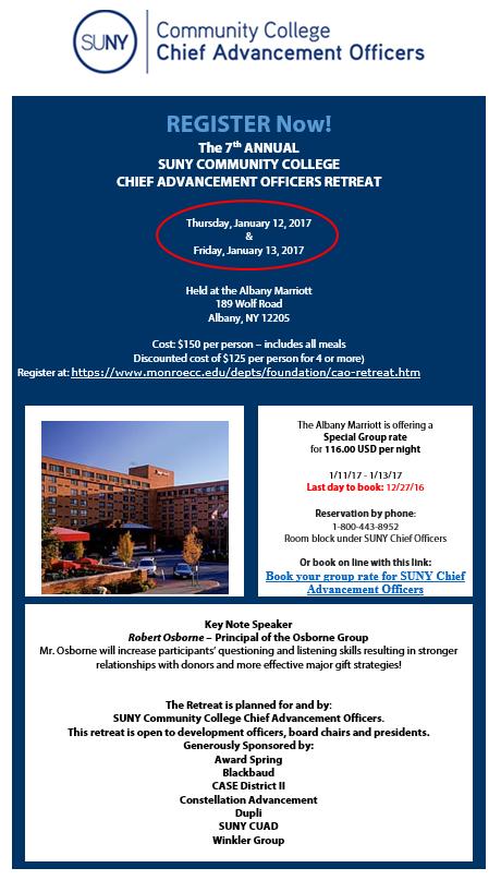 SUNY Community College CAO Retreat January 12-13 – SUNYCUAD